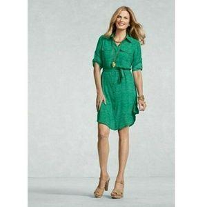 CAbi Emerald Polka Dot Shirt Dress #429